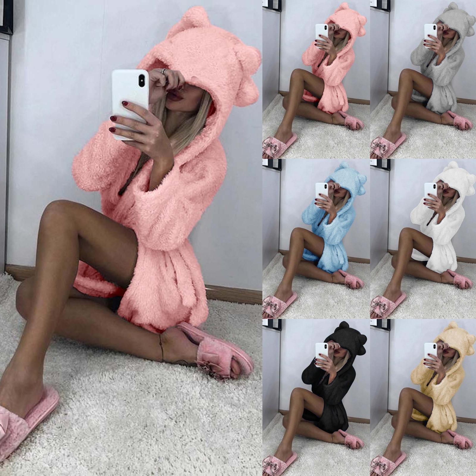 Frauen Plüsch Verband Robe Weichen Bequemen Nette Warme Pyjamas Winter Nachtwäsche Dusche Spa Bademantel Schlaf Nachthemd Dressing Kleid