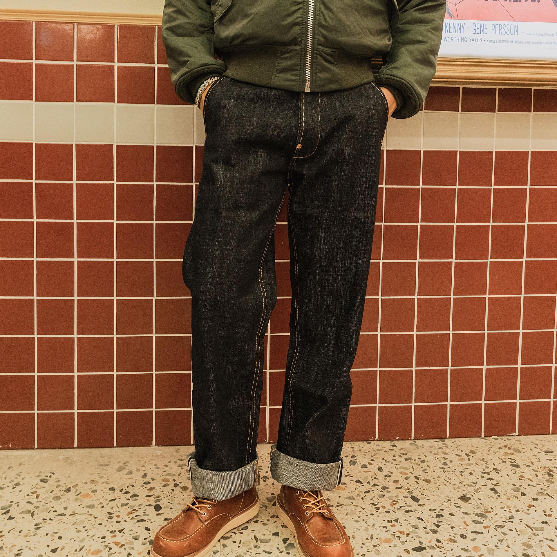 DN-0004 Read Description! Heavy Weight 18oz Indigo Selvage Unwashed Pants Unsanforised Thick High Waist Raw Denim Jean