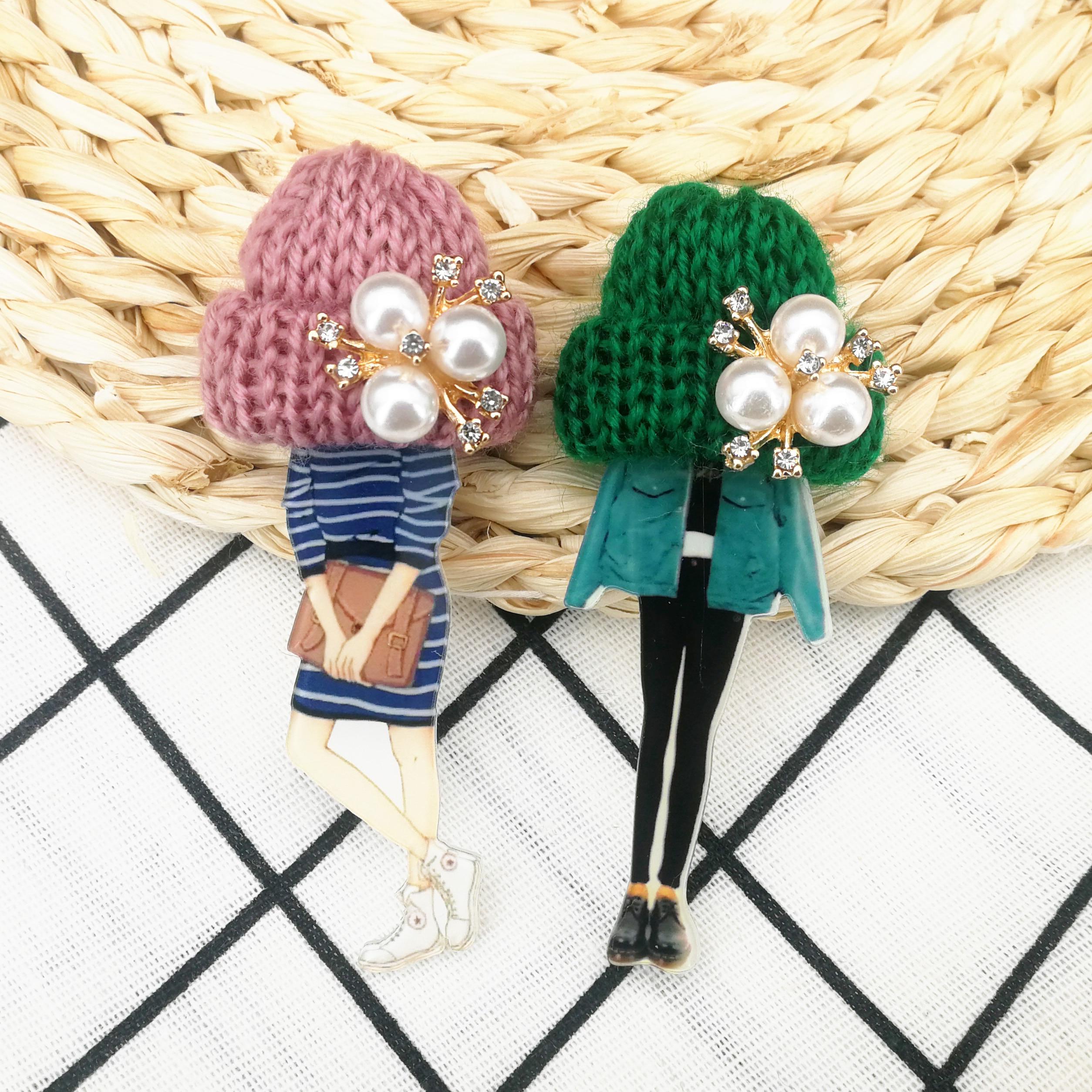 Девушки милые Броши для женщин шерсть шляпа Кристалл значки с героями мультфильмов брошь булавки Мода Harajuku значки на булавке подарки Прямая поставка