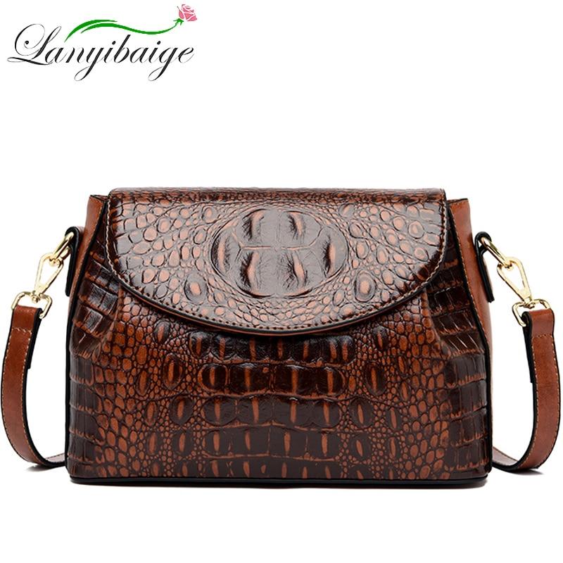 LANYIBAIGE New Fashion Ladies Shoulder Bag Head Layer Cowhide Crocodile Pattern Bag Female Designer Luxury Travelling Bag 2020