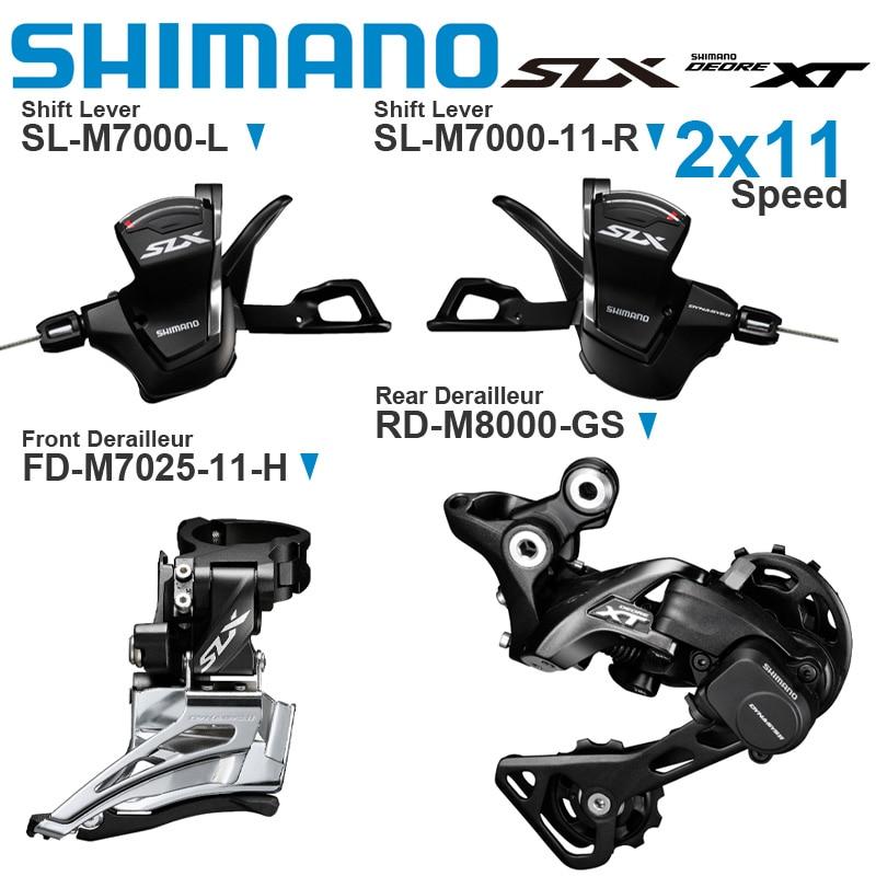 Переключатель передач Shimano SLX DEORE XT M7000, 2x11 В, С передним переключателем передач и задним переключателем M8000, оригинальные детали Велосипедный переключатель      АлиЭкспресс