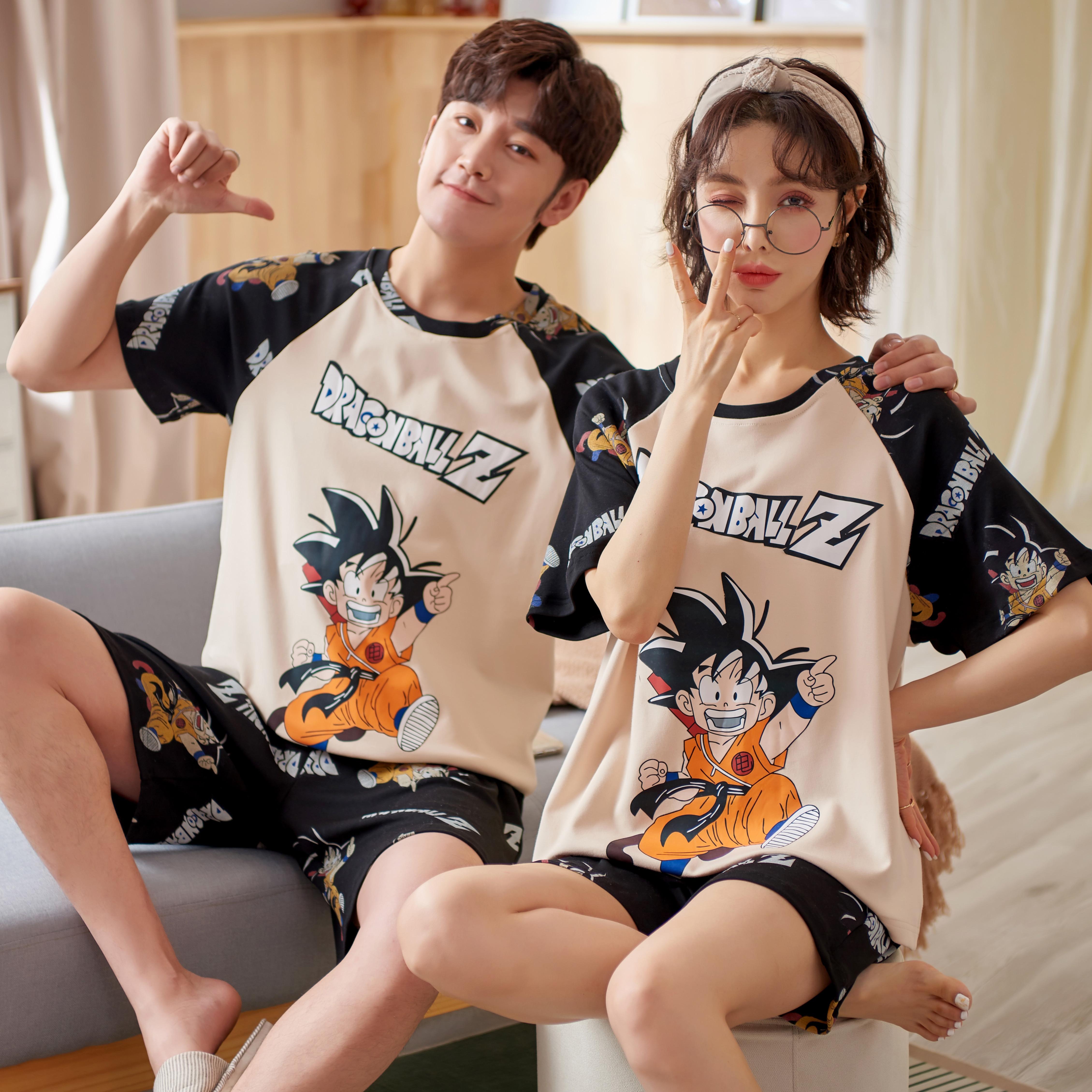 Cartoon Goku SONG 2021 New Summer Couple Pajama Sets For Men Women Pure Cotton Japan Style Home Wear Short Sleeve Pyjamas