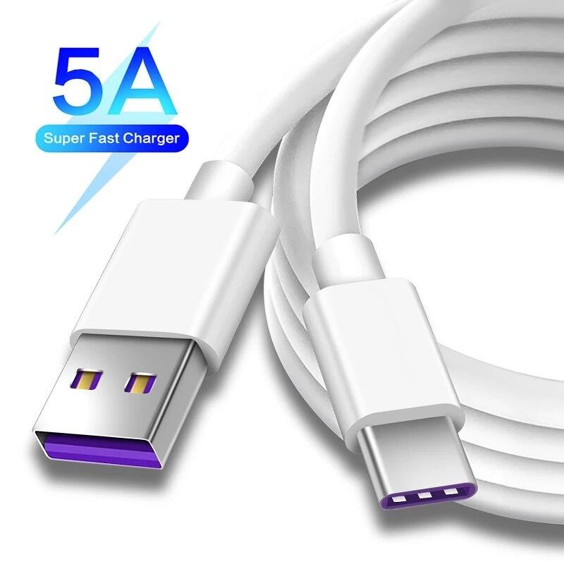 Cable USB tipo C para Huawei, Cable de carga rápida 5A de...