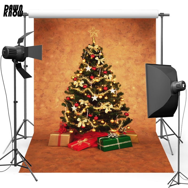 DAWNKNOW Christmas Tree Vinyl Photography Background For Baby Gift Photo Shoot Backdrop For Christmas Photo Studio L843