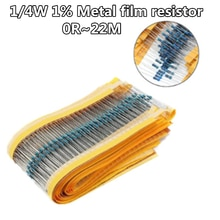 100 pz/lotto 1/4W 1% resistore a film metallico 1R ~ 1M 100R 220R 330R 1K 1.5K 2.2K 3.3K 4.7K 10K 22K 47K 100K 100 220 330 1K5 2K2 3K3 4K7