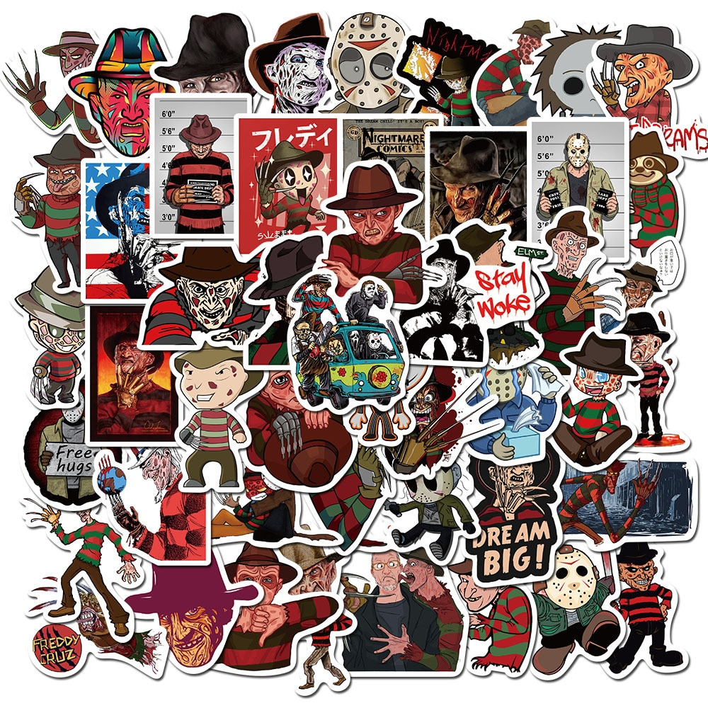 50PCS/set Horror Movie Freddy Krueger Stickers Cartoon Image Pegatina for Laptop Phone Guitar PS4 Skateboard Waterproof Sticker