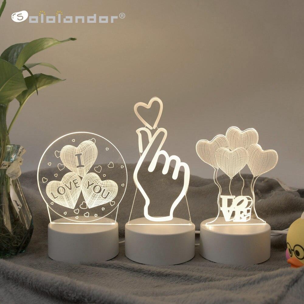 SOLOLANDOR 3D Светодиодная лампа Креативные 3D Светодиодные ночные светильники Новинка Иллюзия Ночная лампа 3D иллюзия настольная лампа для дома декоративный свет
