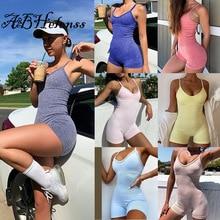 Fitness Women Rompers Solid 2021 Summer Sleeveless Skinny Biker Playsuit Off Shoulder Sporty Workout
