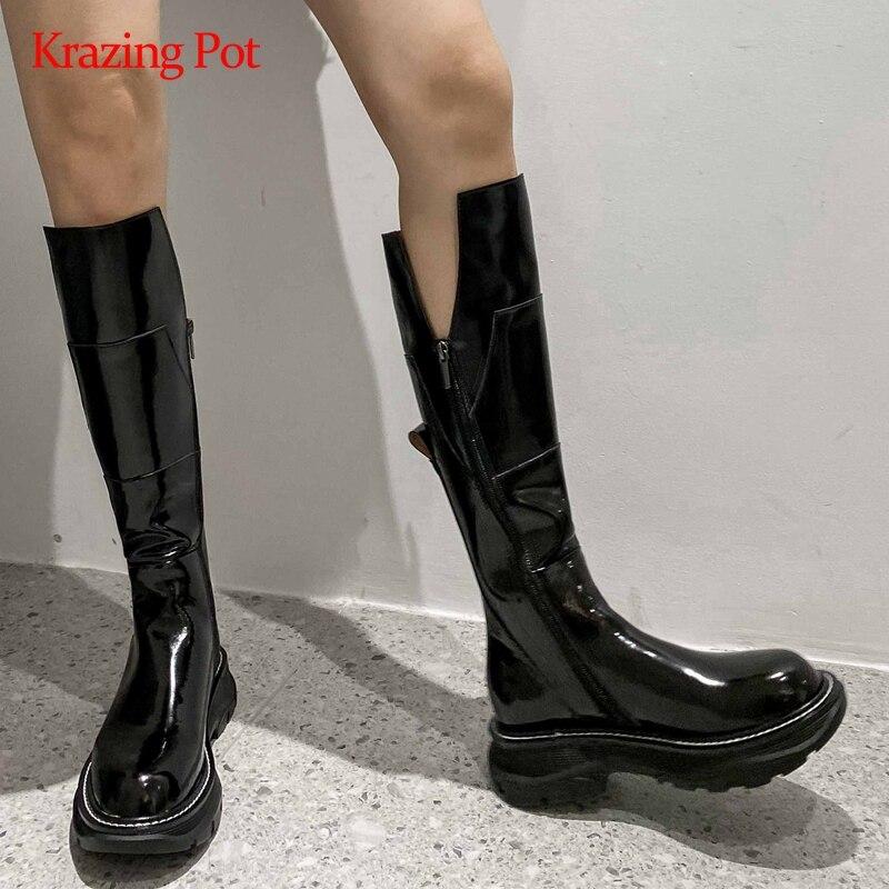 Krazen Pot-أحذية فخذ من جلد البقر الحقيقي ، أحذية فاخرة مع منصة بمقدمة مستديرة وسميكة مع كعب متوسط وسحاب للفتيات الصغيرات ، L21