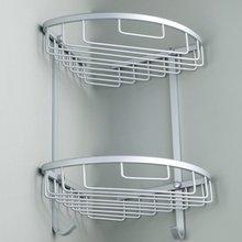 Salle de bain coin étagère 2 couches espace Double niveaux Triangle douche panier shampooing savon cosmétique stockage étagères support en aluminium nouveau