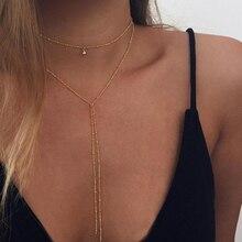 2019 proste złoto srebro kolor Choker łańcuszek długi naszyjnik koraliki Tassel Chocker naszyjniki dla kobiet kołnierz collier ras du cou