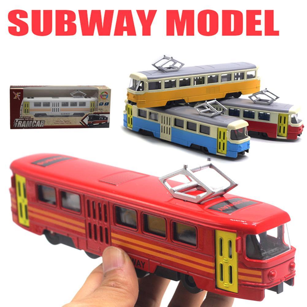 Klassieke Trein Tram Diecast Pull Back Model Met Led Music Developmental Kids Educatief Speelgoed Voor Kinderen Gift