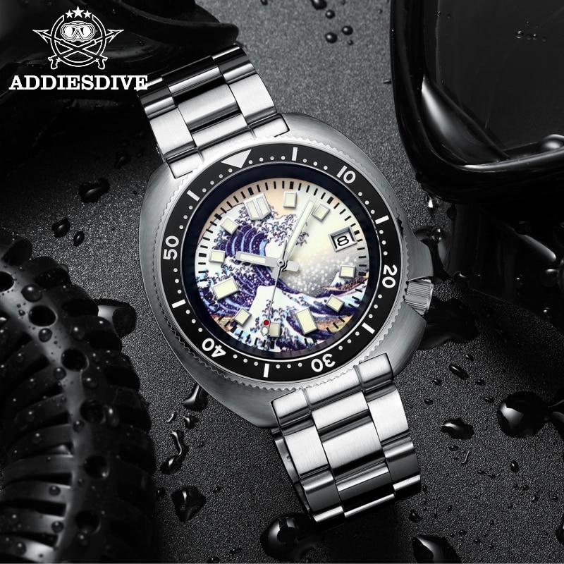 Addies-ساعة غوص التونة للرجال ، ساعة ميكانيكية أوتوماتيكية ، كاناغاوا ، قرص موجة المحيط ، 200 متر ، ساعة غوص من الفولاذ المقاوم للصدأ