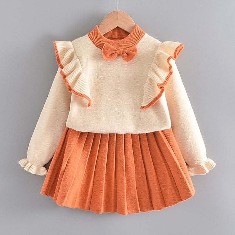 الفتيات ملابس الشتاء مجموعة طويلة الأكمام سترة قميص تنورة 2 قطعة ملابس رسمية القوس الطفل وتتسابق للأطفال الفتيات الملابس