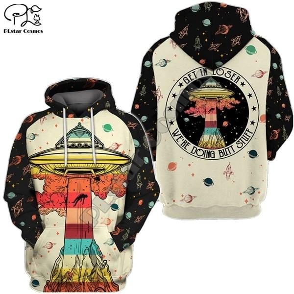 PLstar Cosmos 3D Alien Spaceship UFO Galaxy New Fashion Harajuku Streetwear Funny Unisex Casual Hoodies/Sweatshirt/Jacket/-a2