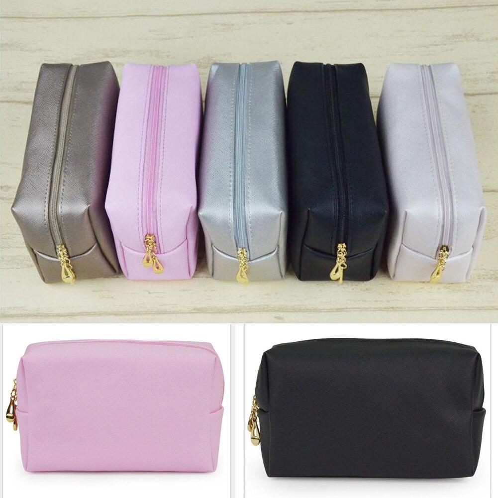 Bolsa de belleza cosmética estuche organizador cremallera bolso de viaje aseo negro Rosa marrón plata