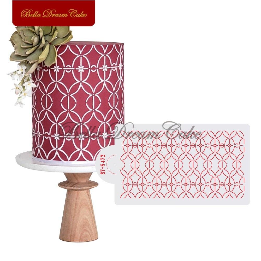 Molde de bolo em anel de design diy, borda de bolo, estêncil de plástico, ferramenta de decoração de bolo, molde