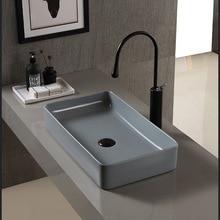 Nordic Ceramic Washbasin Square Basin Simple Grey Bathroom European Art Washbasin Home Basin Without Taps Sink Basins Set