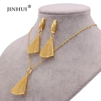 dubai new luxury 24k gold color jewelry sets for women indian bridal necklace earrings african wedding gifts jewellery set
