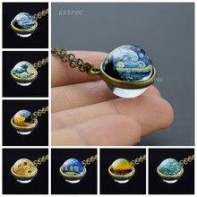 Nuit étoilée Van Gogh Art peinture collier rétro Double face boule de verre pendentif Bronze cuivre alliage collier cadeaux pour les femmes