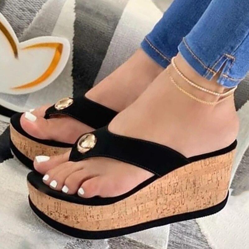 Verano Sandalias chancletas para mujeres Plafrom Sandalias señoras resbalón-Flip Flops Zapatos de...