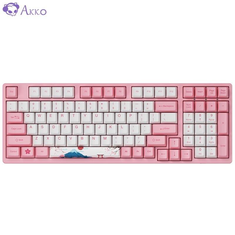 Original AKKO 3087/3098/3108 Tokyo Sakura Wired Mechanical Gaming Keyboard 87/98/108 Keys PBT Computer Gamer Type-C Switch