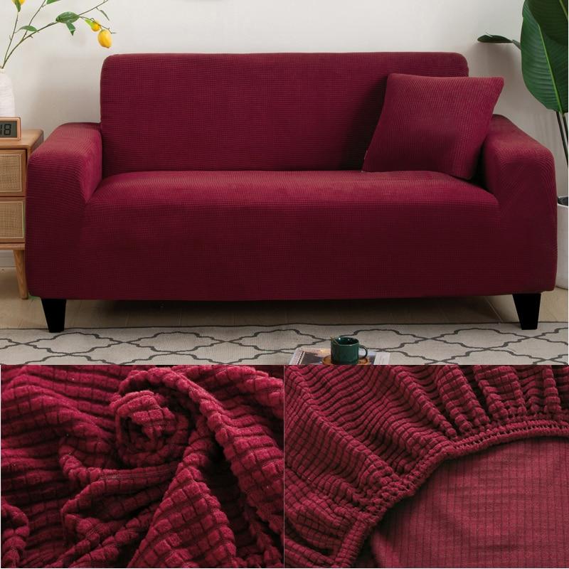 محبوك سميكة أريكة حامي 15 الجاكار الصلبة المطبوعة أريكة يغطي ل غرفة المعيشة غطاء أريكة الزاوية أريكة الغلاف ل شكل