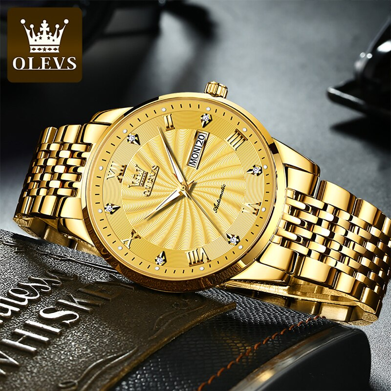 OLEVS 2021 New Ladies Business Automatic Mechanical Watch Luminous Diamond 30M Waterproof Stainless Steel Strap Watches 6630 enlarge