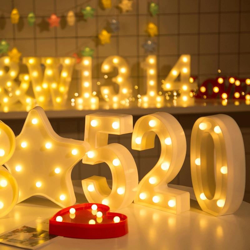 21CM LED Number Night Light Light Digital Battery Home Culb Wall Decoration Wedding Anniversary Birthday Party Decor Gift
