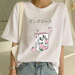 Camiseta mulheres meninas amigos 90s branco camiseta verão casual tumblr outfit moda topos kawaii suco de pêssego japanses harajuku grunge