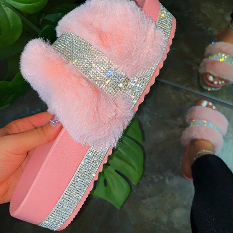 Women Fur Slippers Summer Furry Slides Female Fluffy Indoor Shoes Women's Bling fuzzy Slide House Sliders wholesale Dropshipping