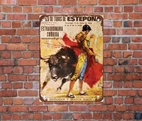 mhreat metal tin sign decor bullfighting in spain retro living caution office road sign man cave sign decoration poster 30x20cm
