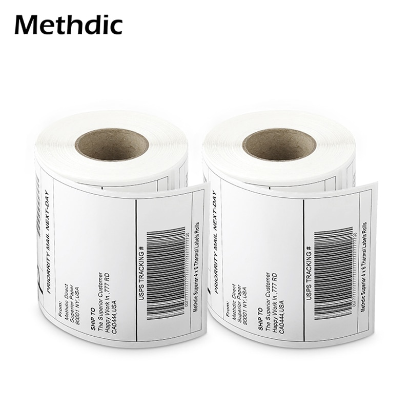Methdic 10rolls Adhesive Sticker 4X6 Thermal Shipping Labels Address Labels for shipping