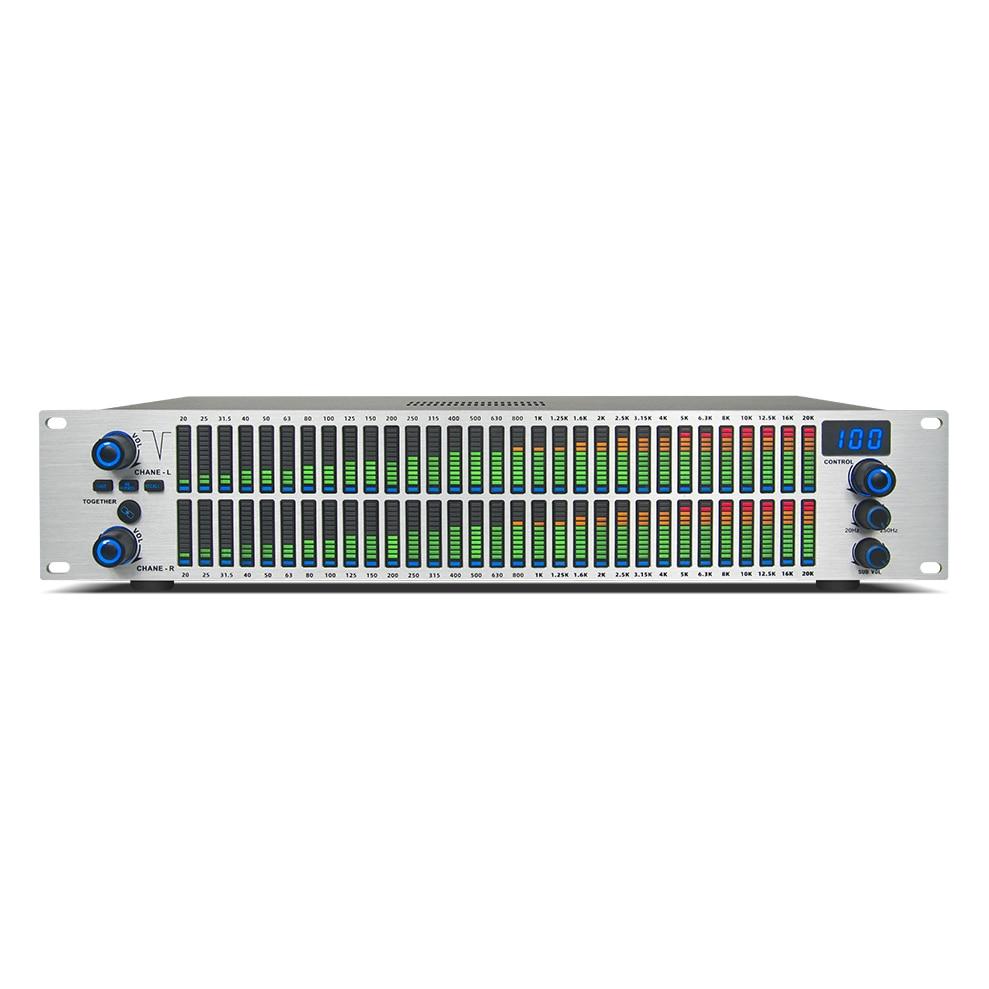 Q-312 نظام الصوت المهنية القياسية 2U رقيقة وخفيفة رف التعادل الرقمي