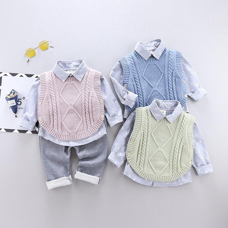 LZH 2021 الخريف الاطفال عادية دعوى الأطفال دعوى القطن الفتيان طويلة الأكمام قميص سترة سترة بنطلون 3 قطعة ملابس الطفل 0-4 سنوات