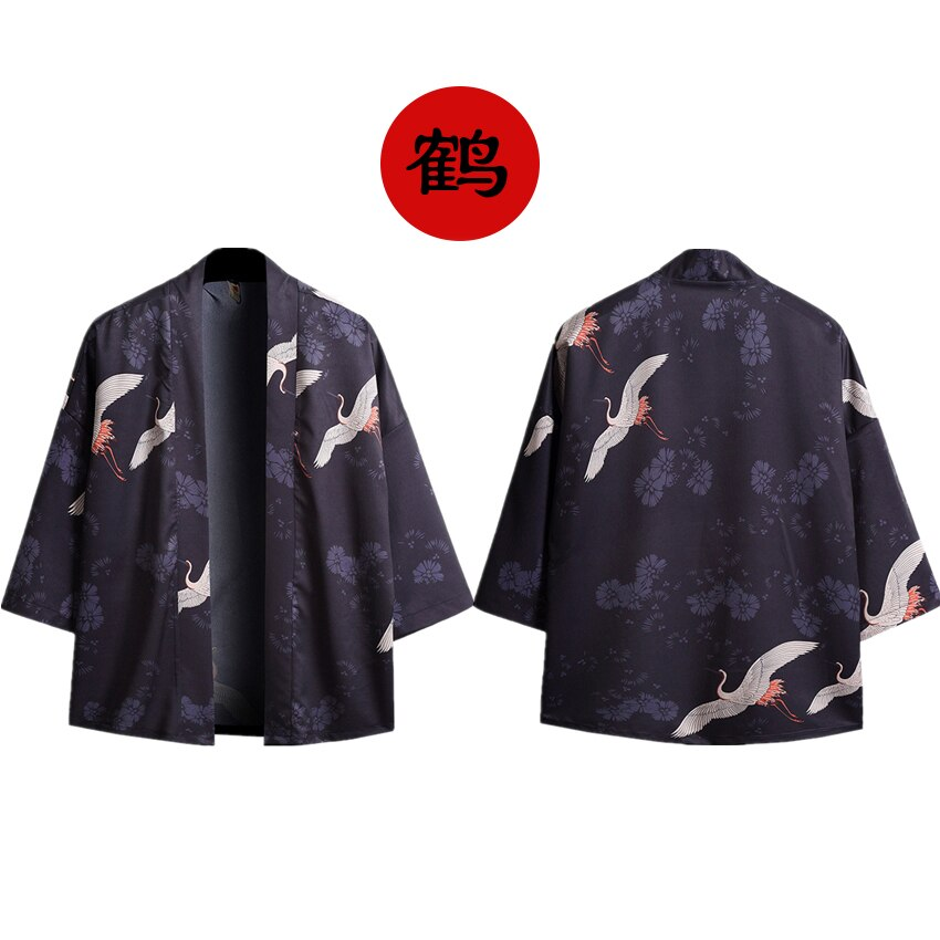 Kimono robe haori japonês chinês roupas para homens unissex guindaste yukata retro festa plus size tangsuit solto japão moda