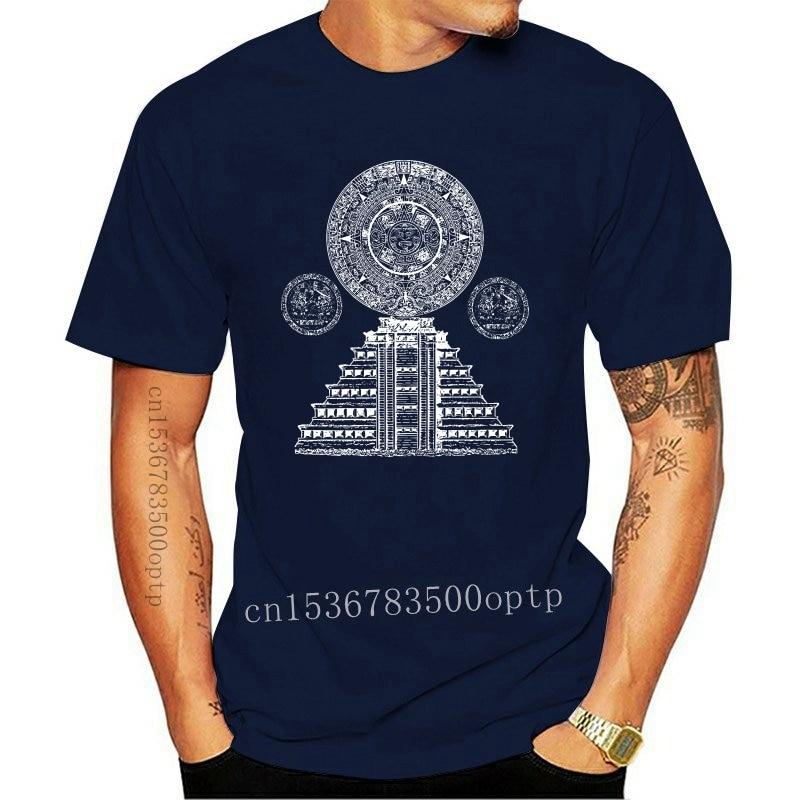 New 2021 Fashion Hot Sale Sacred Mayan Aztec calendar pyramid sacred geometry T-Shirt Tee shirt