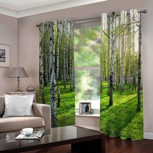 Photo Printing Curtains Thick Blackout Window Curtains For Living Room Forest landscape Cortinas Drapes