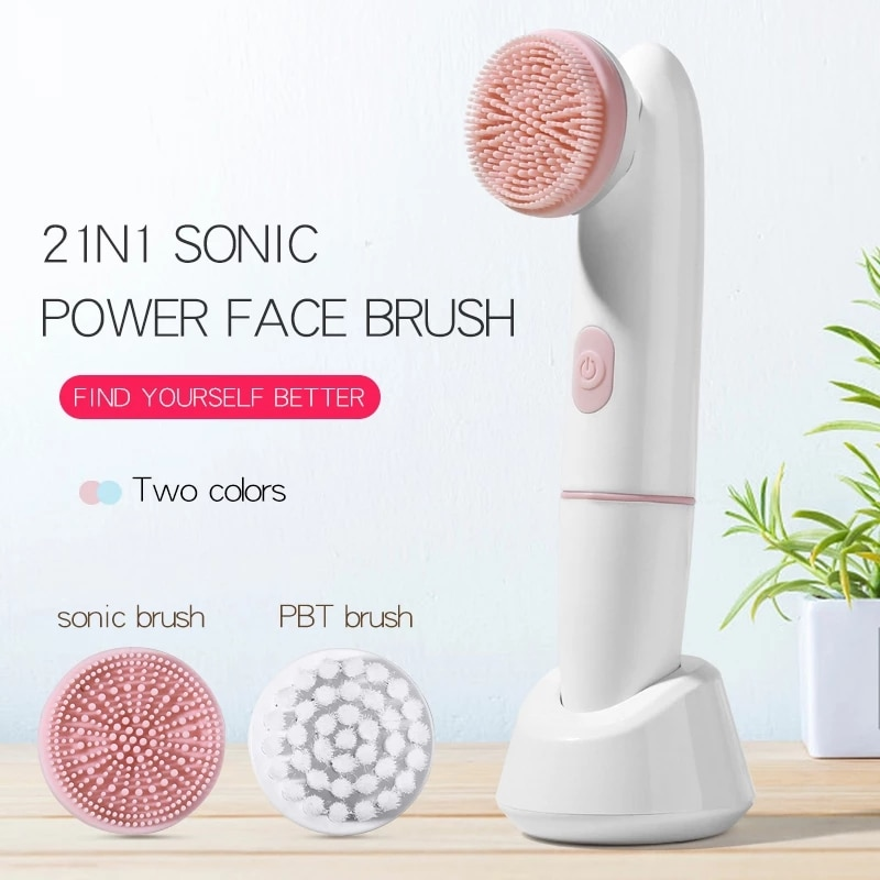 Facial Cleansing Electric Facial Cleansing Brush 2 in 1 Sonic Vibration Cleansing Brush Exfoliating Massage Cleansing Brush