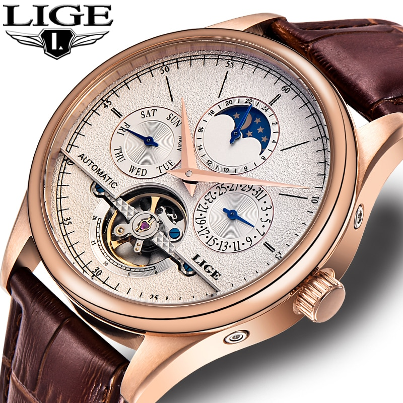 LIGE Brand Classic Mens Retro Watches Automatic Mechanical Watch Tourbillon Clock Genuine Leather Wa