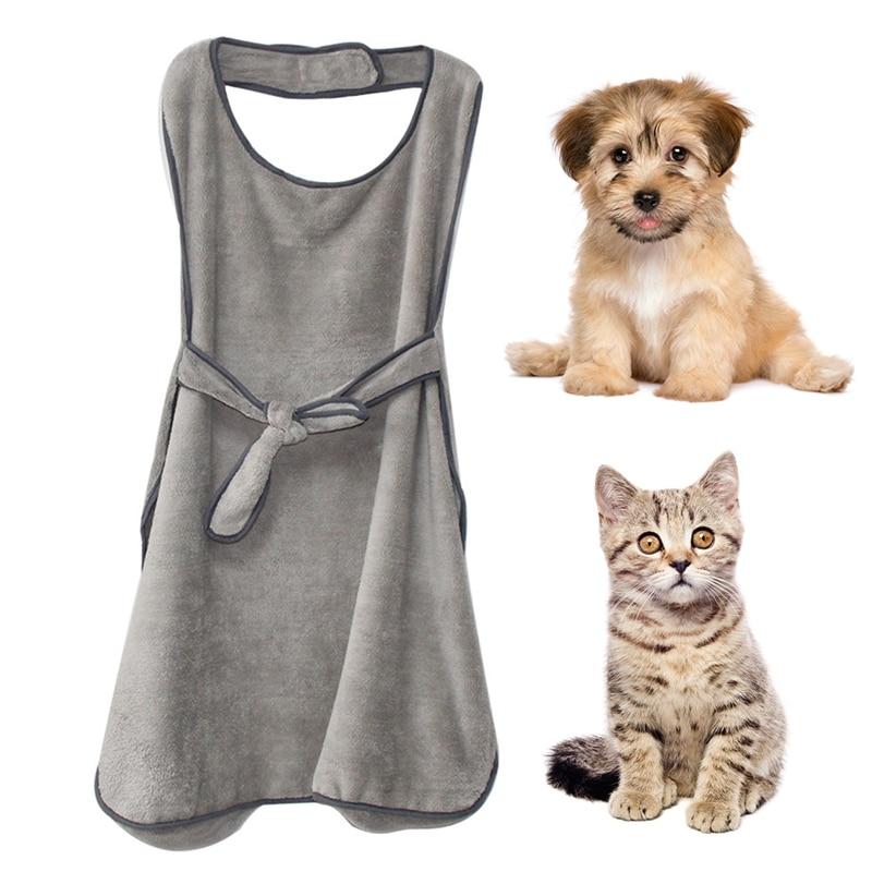 Toalha de Chuveiro Toalha de Banho Filhote de Cachorro Suprimentos para Cães Cão de Estimação Macio Gato Cinzento Animal Avental Design Roupão Chuveiro Lavar Médios Pequenos
