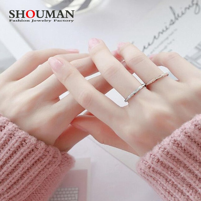SHOUMAN 2020 2mm Rose Gold Color Frosted Finger Rings for Woman  Wedding Jewelry Stainless Steel Top Quality Never Fade tailor made luxury western rose gold color inlay health surgical stainless steel wedding bands rings sets
