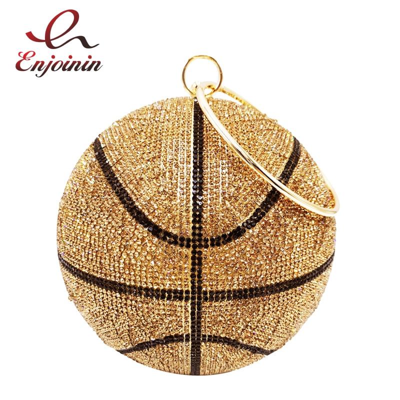 فاخر كرة السلة الماس حفلة مساء حقيبة المحافظ وحقيبة يد للنساء الكرة شكل حقيبة كتف مخلب مصمم حقيبة كروسبودي