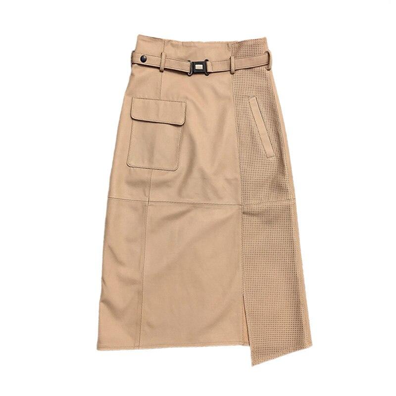 2021 Fashion Style Women's Real Leather Skirt Lady Streetwear Spring Autumn Sheepskin Long Skirts TF8501