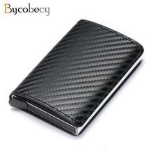 Bycobecy-tarjetero de aluminio RFID para hombre y mujer, billetera Vintage de cuero con Clips para dinero, 2021