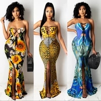 womens long skirt 2021 summer new sexy one line collar printed dress with buttocks
