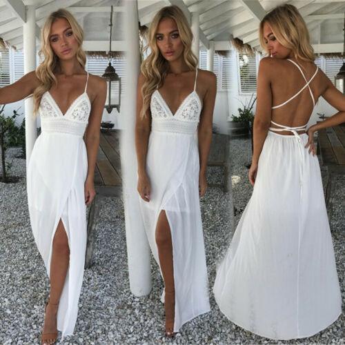 Vestido feminino longo boho renda plus size, vestido festa à noite branco vermelho