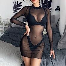 Mulheres sexy malha perspectiva sexy nadar cover-up vestido senhora maiô verão praia mini vestido feminino magro noite clube vestido