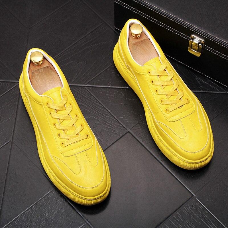 City boy-حذاء رياضي من جلد البقر للرجال ، أحذية رياضية مع منصة ، نمط غير رسمي ، فاخر ، أبيض وأصفر