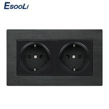 Esooli Black Aluminium Metal Panel Stopcontact Eu Standaard Stopcontact 16A Eu Standaard Elektrische Dubbele Outlet 146 Mm * 86 Mm